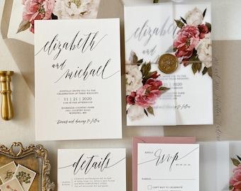 Vintage Vellum Wrap and Wax Seal Wedding Invitation Set, Garden Wedding Invitation, Rustic Wedding Invite