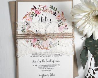 Floral Wreath  Wedding Invitation, Lace Wedding Invitation, Bohemian Wedding Invitation, DIY, Rustic Lace Wedding Invitation, Rustic Kraft