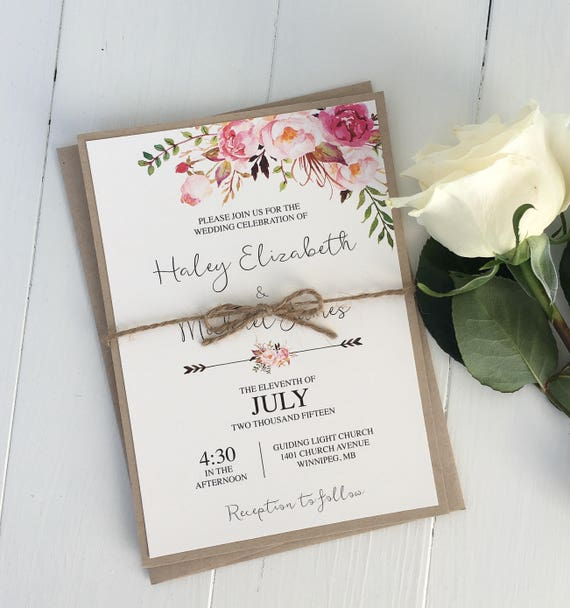Rustic Pink Floral Boho Wedding Invitation, Modern Rustic Wedding  Invitation, Boho Chic Wedding invite, Bohemian Wedding Set