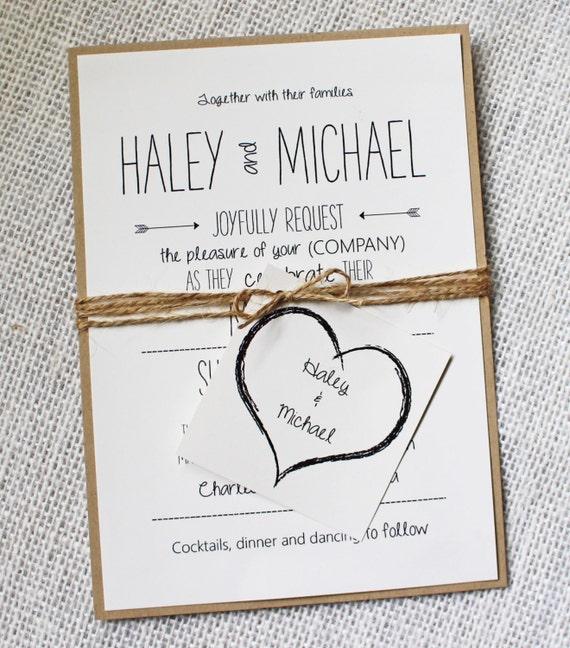 Handmade Wedding Invitations: Items Similar To Whimsical Wedding Invitation, Rustic Chic
