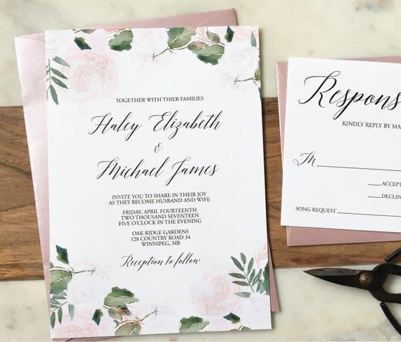 cbfd07248f24d Rose Gold Vellum Wedding Invitation Set with Wax seal, Floral Wedding  Invitation, Boho Chic Wedding, Rustic, Garden Wedding