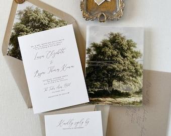 Rustic Oak Tree Wedding Invitation, Tree wedding invitation set, Rustic Wedding, natural, Outdoor Wedding Invitations, Green, Kraft