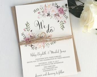 Pink blush Wedding Invitation Suite, Bohemian Wedding Invite Set, Rustic Floral Wedding Invitation, Boho Chic, Rustic Wedding, Modern