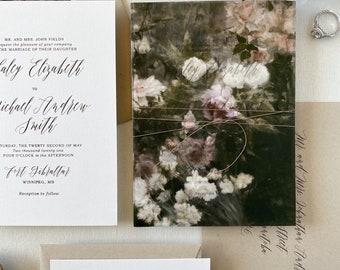 Rustic Vintage Floral Wedding Invitation set with twine, and vellum wrap, Rustic flowers, wedding invites, Luxury Invitations