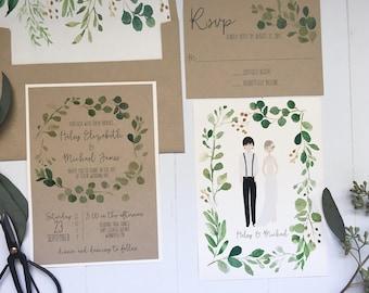 Couple Portrait Wedding Invitation, Modern Wedding Invite, Rustic Wedding Invitation, Woodland, Kraft Invitation, Couple Illustration