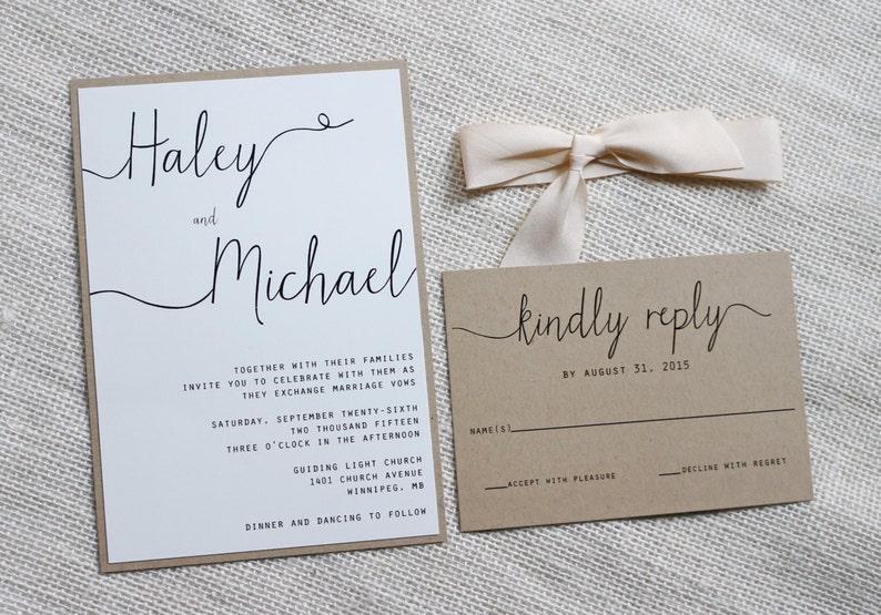 modern wedding invitation simple wedding invitation rustic