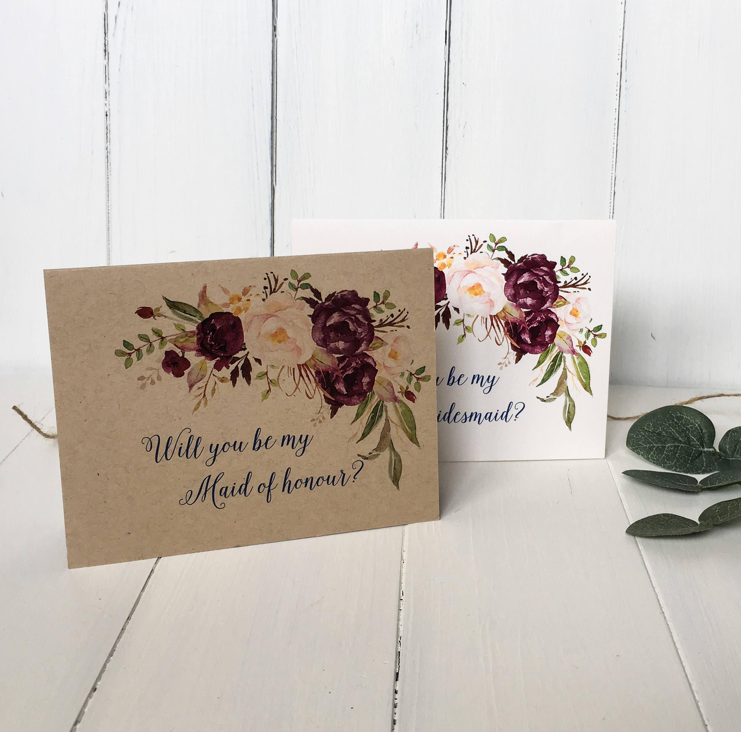 Marsala Will You be My Bridesmaid Cards Bridesmaid proposal image 1