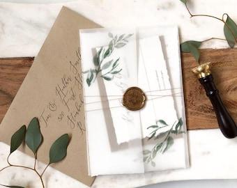 Greenery Wedding Invitations with Vellum and Wax Seal, Rustic Wedding Invitations, Wax Seal Wedding Invitations, Botanical Vellum Wrap
