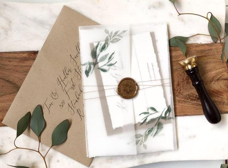 eef213aeda6b9 Vellum Wedding Invitation Set with Wax Seal and Greenery, Rustic Elegant  Invite, Modern Calligraphy, Rustic Botanical