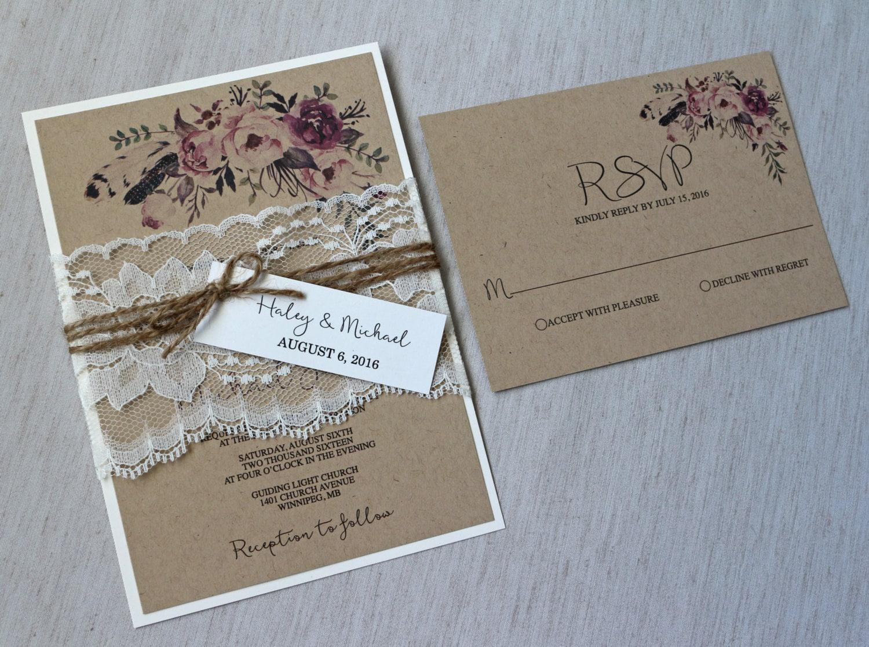 Boho Chic Wedding Invitations: Rustic Boho Chic Wedding Invitation Set Lace Wedding