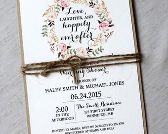 Rustic Bridal Shower Invitations, Floral Bridal Shower Invites, Wedding Shower Invitation, Bridal Brunch, Bridal Invitation, PRINTABLE