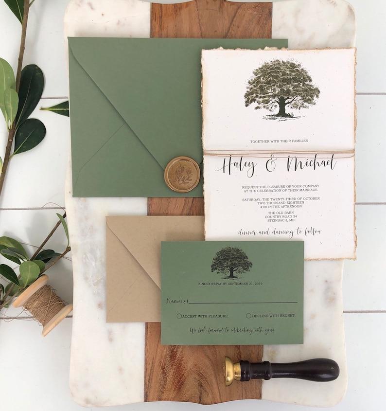 Rustic Wedding Invitation Oak Tree Country Wedding Invitation Set Green Wedding Invitation Deckled Edge Invitation