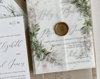 Rustic Greenery and Gold Wax Seal Vellum Wrap Wedding Invitation Set, Garden wedding Invitation suite, invitation with wax seal