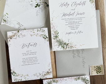 Rustic Greenery Wedding Invitation Set, Garden wedding Invitation suite, Botanical Wedding Invitation Set