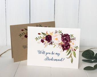 Marsala, Will You be My Bridesmaid Cards, Bridesmaid proposal Card, Custom Bridesmaid cards, Bridesmaid Invitation, Bridesmaid Gift, Floral