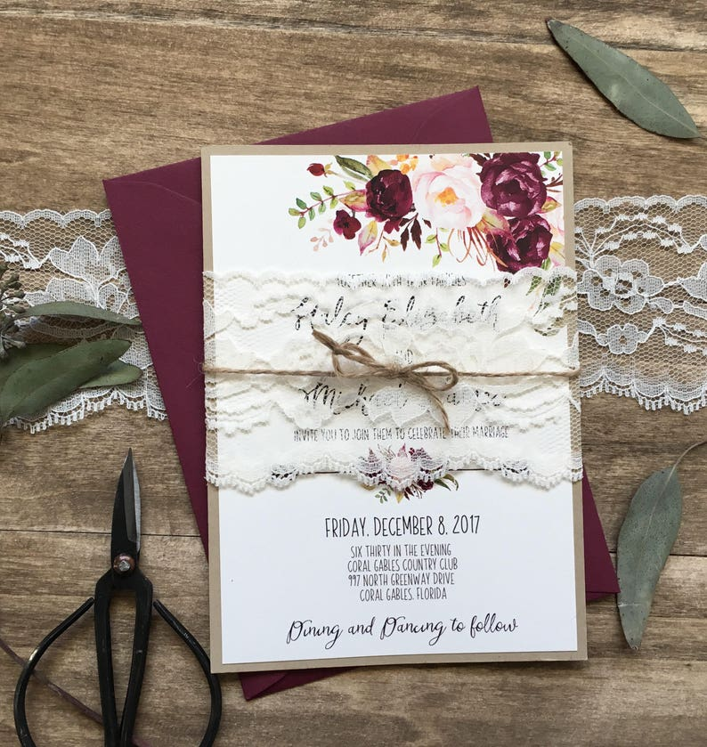 Printable Marsala Floral Wedding Invitation Burgundy Wedding Invitation Floral Wedding Invitation Rustic Invitation Boho Chic