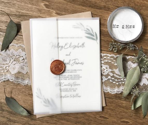 Green Wedding Invitation Rustic Wedding Invitation Vellum
