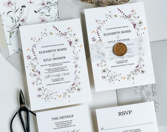Wildflower Wedding Invitation with Vellum Band, Floral Suite, Botanical Wedding Invitations wedding invites for Boho, Botanical, Garden
