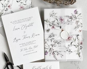 Summer Meadow Wildflower Wedding Invitation, Floral Suite, Botanical wedding invites for Bohemian Wedding, Botanical, Garden