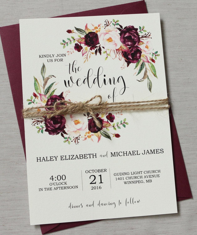Marsala Wedding Invitation Suite Bohemian Wedding Invite