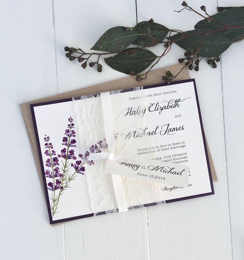 Vintage Lace Wedding Invitations Lavender Invitation Rustic Lilac Purple Plum Shabby Chic
