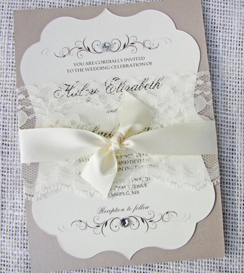 Elegant Wedding Invitation Lace Wedding Invitation Vintage Etsy