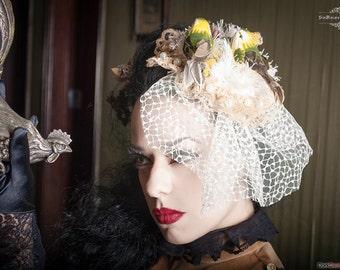 Cute Fascinator, birds, pinup, retro, burlesque, lolita, pastel goth, harajuku, kawaii, head piece, weeding, hat, pearls, bridal, handmade