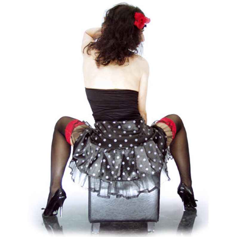 vintage Black and White POLKA DOT SKIRT rockabilly Sale retro look pin up