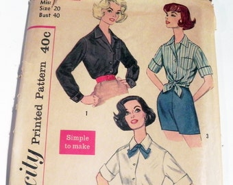 "1960s Plus Size Blouse Rockabilly Button down blouse top Clam back sewing pattern Simplicity 3260 Size 20 Bust 40"" UNCUT FF full figure"