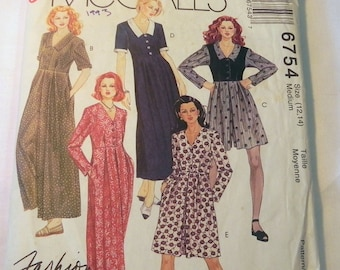 """1990s Wide Leg Jumpsuit Dress culottes Short long sleeves sewing pattern McCalls 6754 Size 8 10 or 12 14 Bust 31.5 32.5 or 34 36"""""""