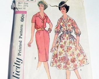 "1950s Day Dress Button Front housedress slim full skirt rockabilly sewing pattern Simplicity 3009 Half Size 20.5 Bust 41"" UNCUT FF"