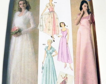 1930s Retro Wedding Dress Bridal Gown Prom Mother of the Bride Bolero gathered bodice sewing pattern Simplicity 4270 Size 8 10 12 14 16 FF