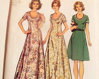 1970s Princess Line Maxi Dress scoop neck vintage sewing pattern Maxi Simplicity 5967 Size 14 Bust 36""