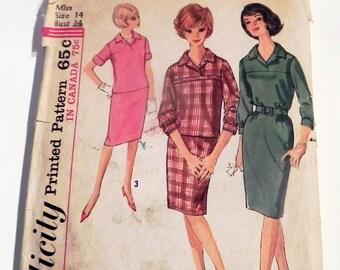 "1960s Yoke Dress Sheath Straight Blouse Skirt V neck mad men vintage sewing pattern Simplicity 5057 Size 14 Bust 34"""