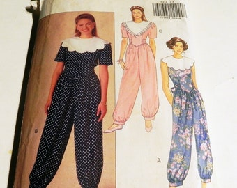 4d32e10443d6 1990s Jumpsuit Wide Collar Cuffed Ankle fitted sewing pattern Butterick  5354 Size 6 8 10 12 Bust 30.5 31.5 32.5 34