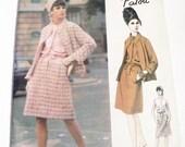 """1960s Patou Mod Sleeveless dress dropwaisted Open Jacket vintage sewing pattern Paris Original Vogue 1432 Size 14 Bust 34"""" Label UNCUT FF"""