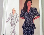 """1980s Peplum Jacket Top Pleated Pants  Straight Skirt Sewing Pattern Simplicity 8431   Size 8 Bust 31.5"""" UNCUT FF"""