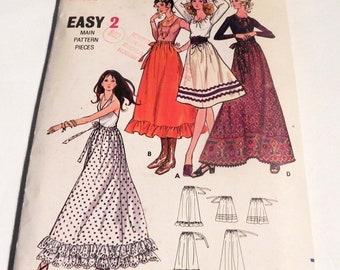 "1970s Maxi Skirt Ruffle Petticoat knee length gathered waist sewing pattern Easy Butterick 6085 Size Large Waist 27 29"""