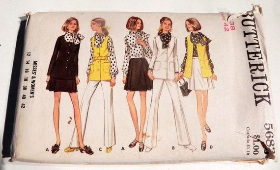1960s Career Pleated Skirt Jacket Pants Suit Sleeveless Tunic Etsy