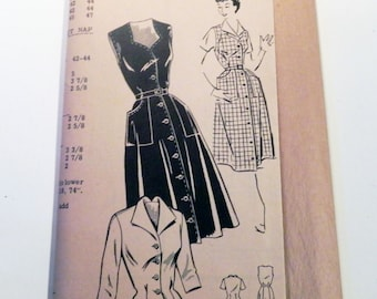"1940s Day Dress Button front Blouse Sweetheart neckline patch pockets Size 16 Bust 34"" New Style 3013 UNCUT FF"