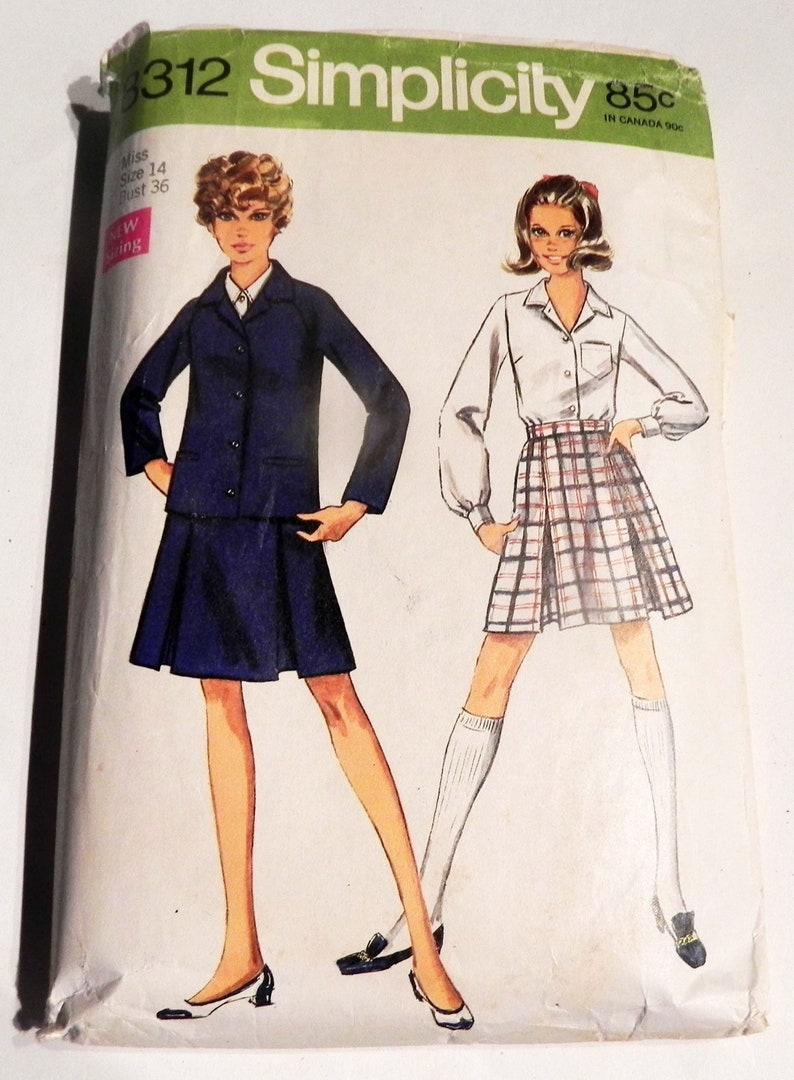33eb5d8f07 1960s School uniform Pleated Skirt Jacket blouse a line   Etsy