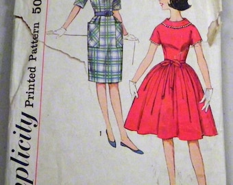 "1950s Rockabilly Fitted wiggle Dress full skirt sewing pattern Teen  Size 12 s Bust 31"" Simplicity 4114"