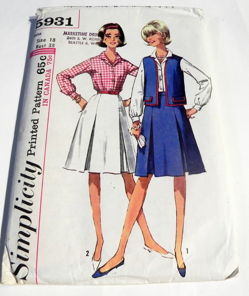 8bbf4b159a 1960s Pleated Skirt Button front Shirt Vest School inverted   Etsy