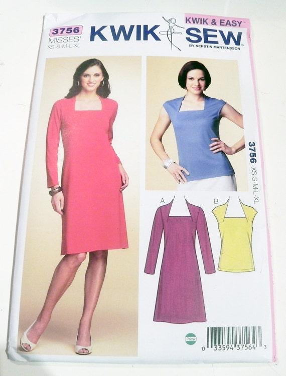 Knit Dress Top Square neck Cap Sleeves sewing pattern Kwik Sew 3756 ...