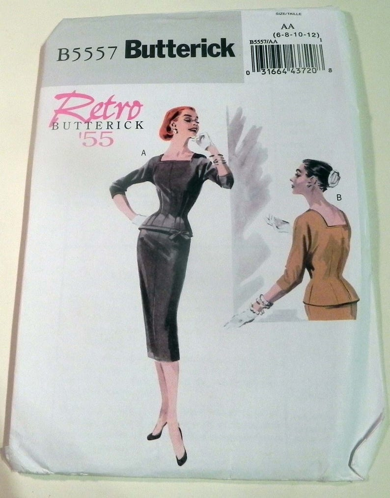 1950s Fitted top blouse pencil skirt rockabilly square image 0