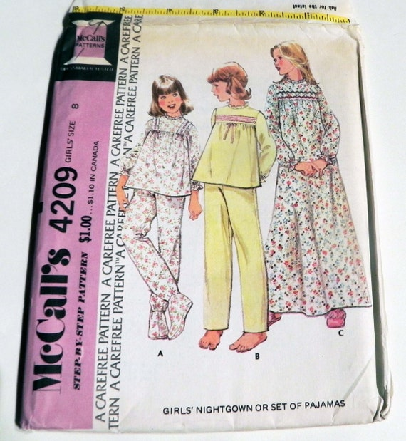1970er Jahre Mädchen Pyjama Schlafanzug Nachthemd Oma Joch | Etsy