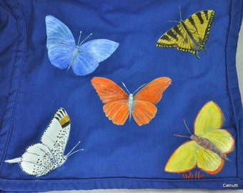 Butterflies Blue Cotton Shopping Tote Bag Hand Painted Artist Signed Jackie Wells