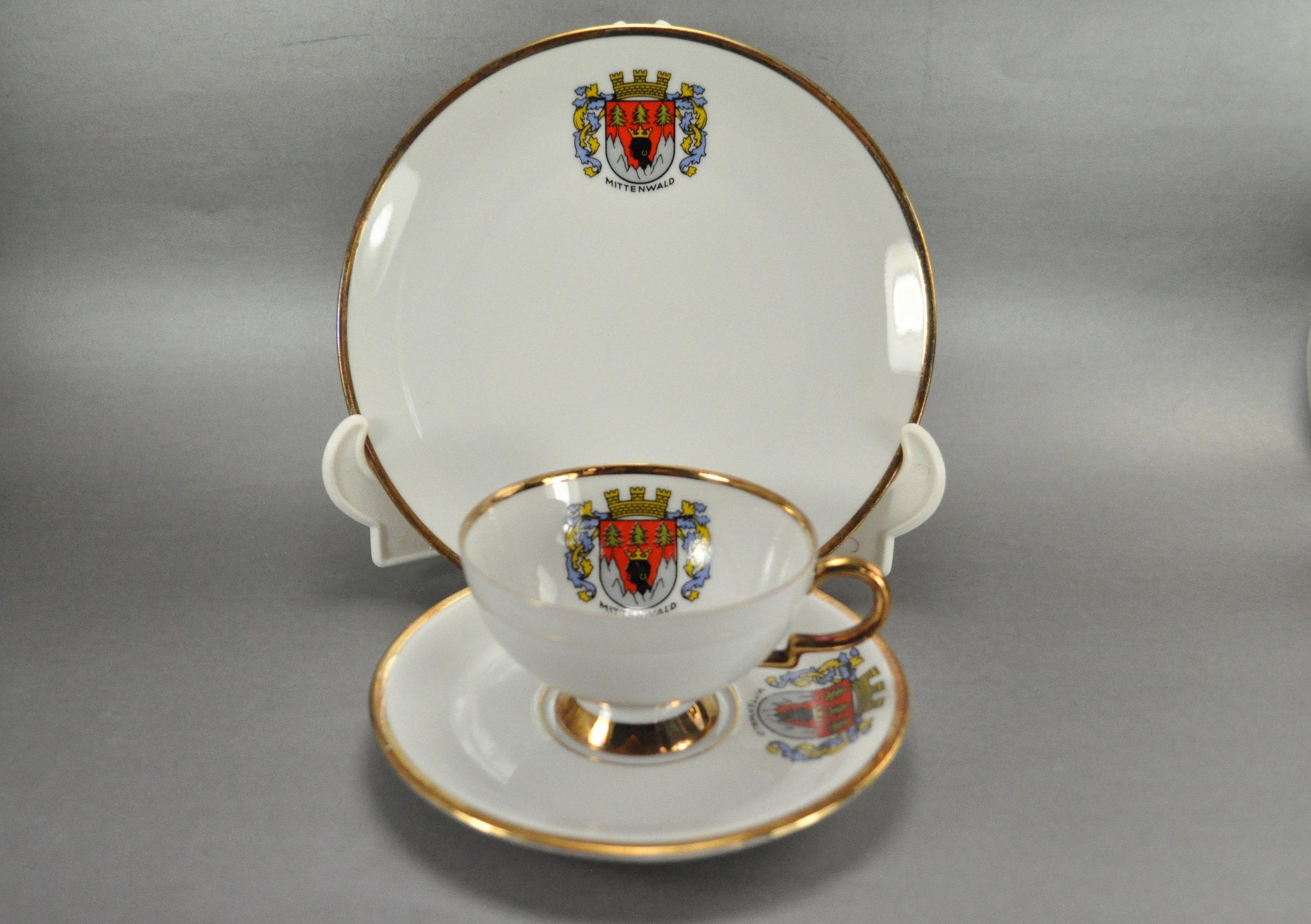 WB Bavaria Germany Mittenwald Crest 3 Piece Porcelain Tea