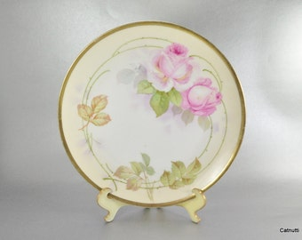 Prussia Royal Rudolstadt Plate Pink Rose Floral 8 Inch Antique Beyer and Bock