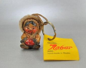 Naber Alaskan Eskimo Doll Vintage Key Fob Figurine Homer Vintage Alaska Hang Tag